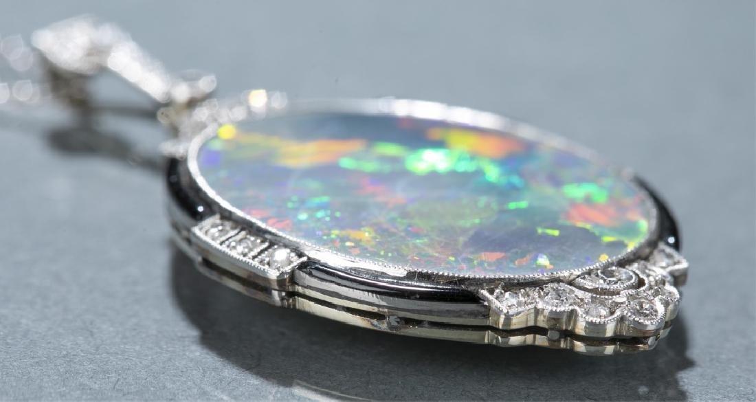 Art Deco opal & diamond pendant necklace. - 2