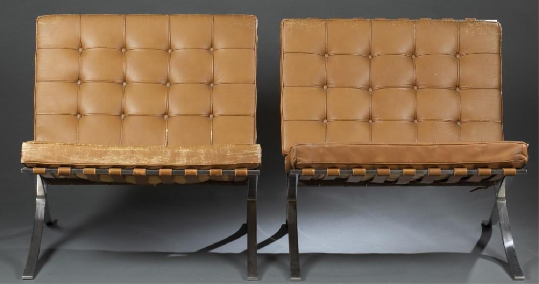 4 Mies Van Der Rohe Barcelona chairs by Knoll.
