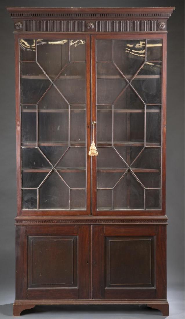 Federal Mahogany Glazed Door Bookcase.