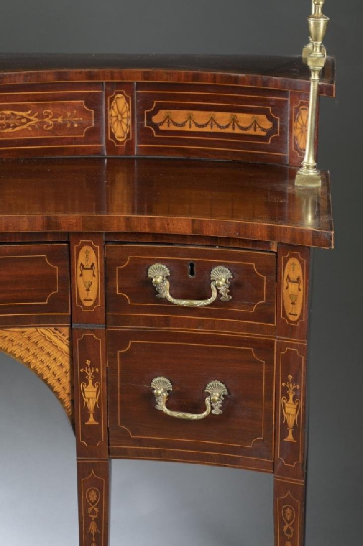 George III style mahogany serpentine sideboard. - 2