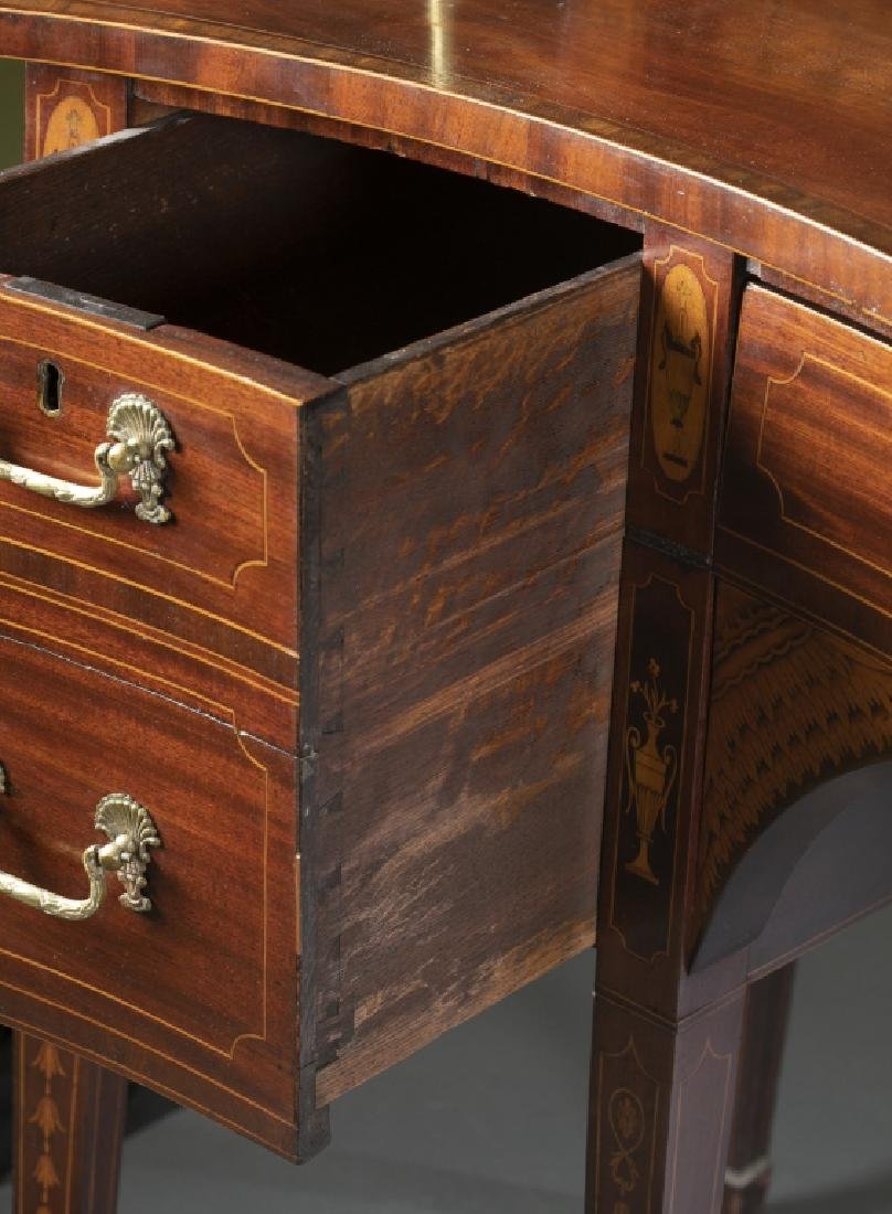 George III style mahogany serpentine sideboard. - 4