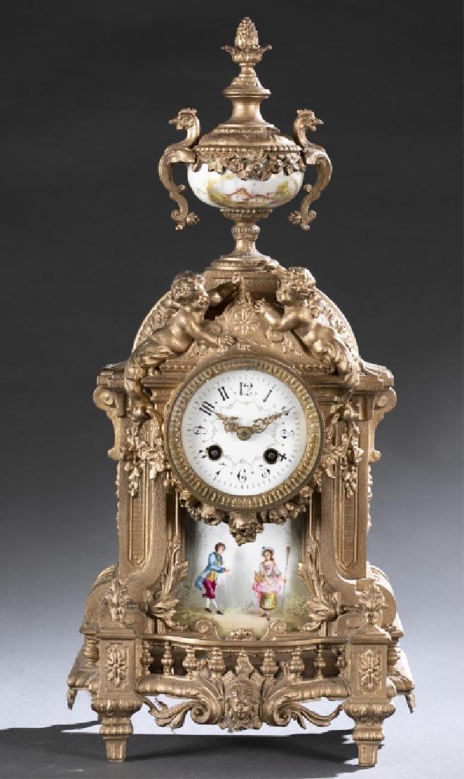 Bronze & Porcelain Mantel Clock, 19th century.