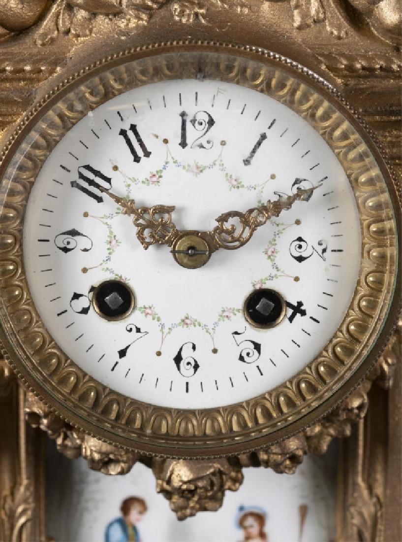 Bronze & Porcelain Mantel Clock, 19th century. - 2