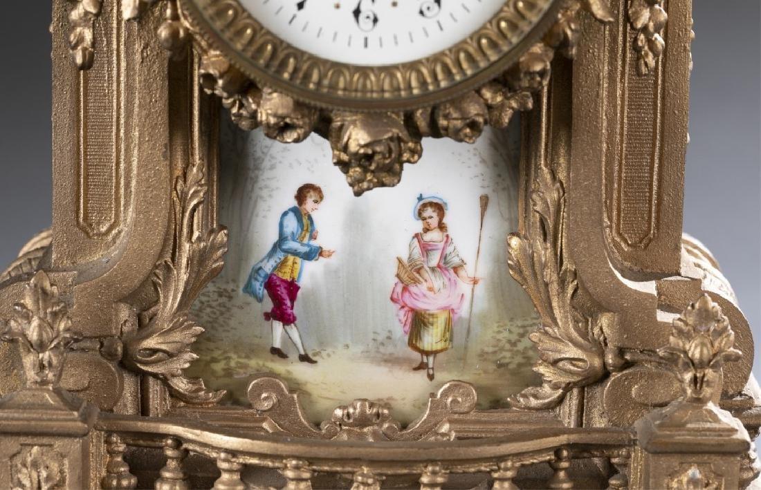 Bronze & Porcelain Mantel Clock, 19th century. - 3