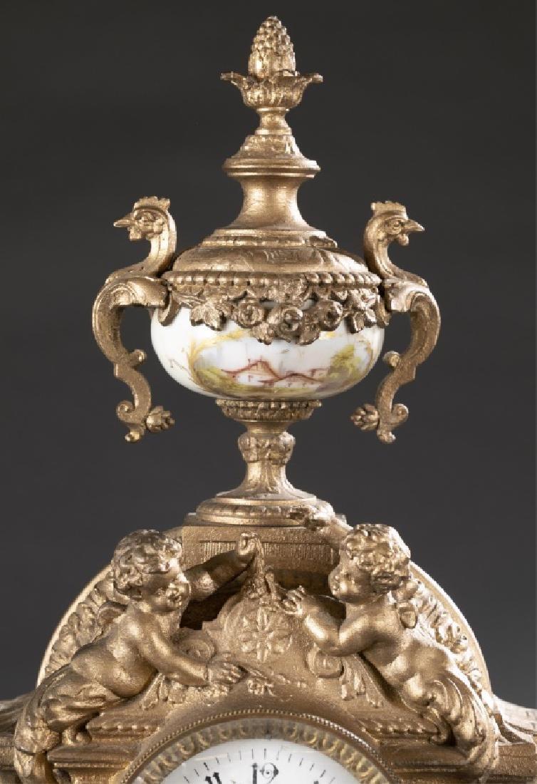 Bronze & Porcelain Mantel Clock, 19th century. - 4