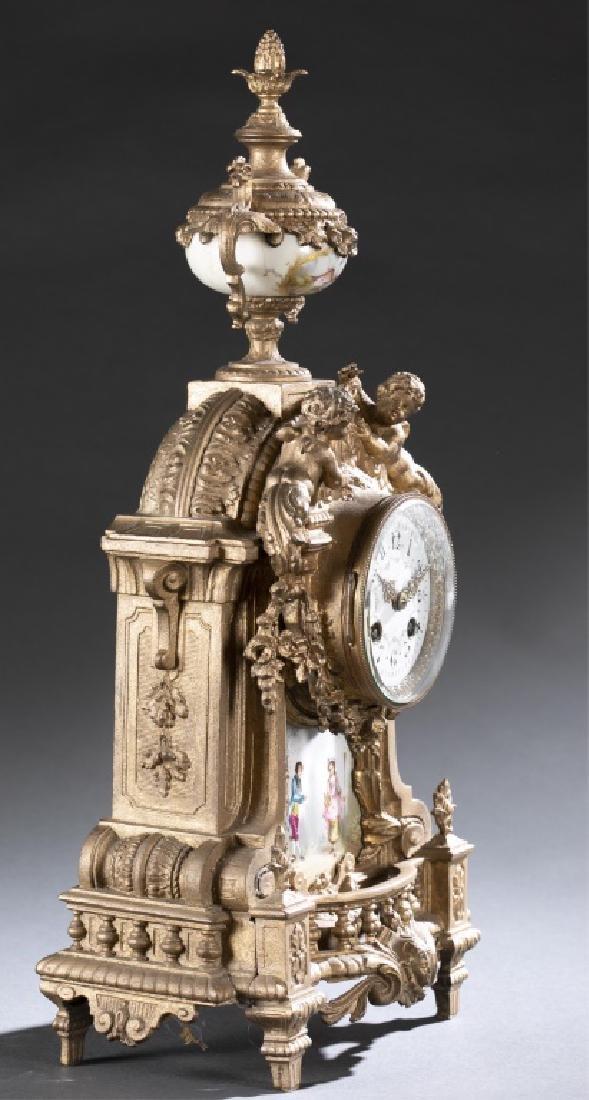 Bronze & Porcelain Mantel Clock, 19th century. - 6
