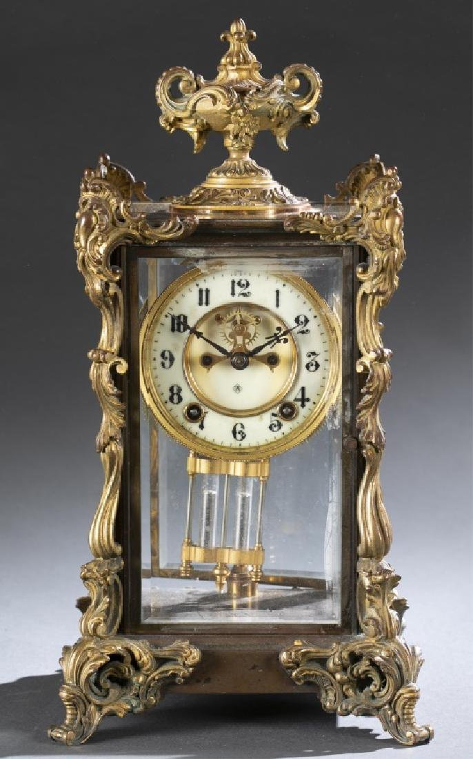 Ansonia Bronze & Glass Regulator Clock, 19th c.