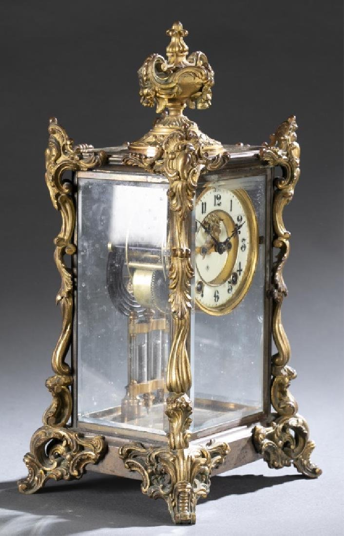 Ansonia Bronze & Glass Regulator Clock, 19th c. - 4