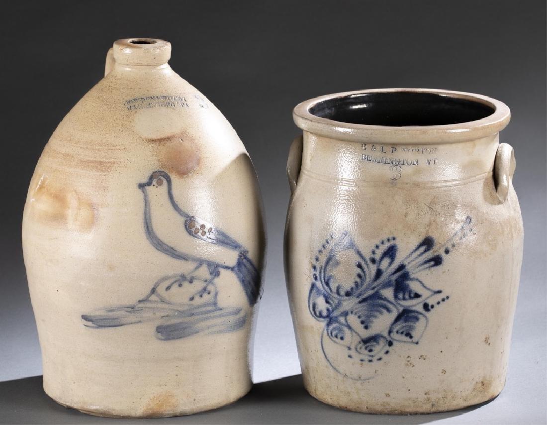 2 Stoneware Crock & Jug,19th century.