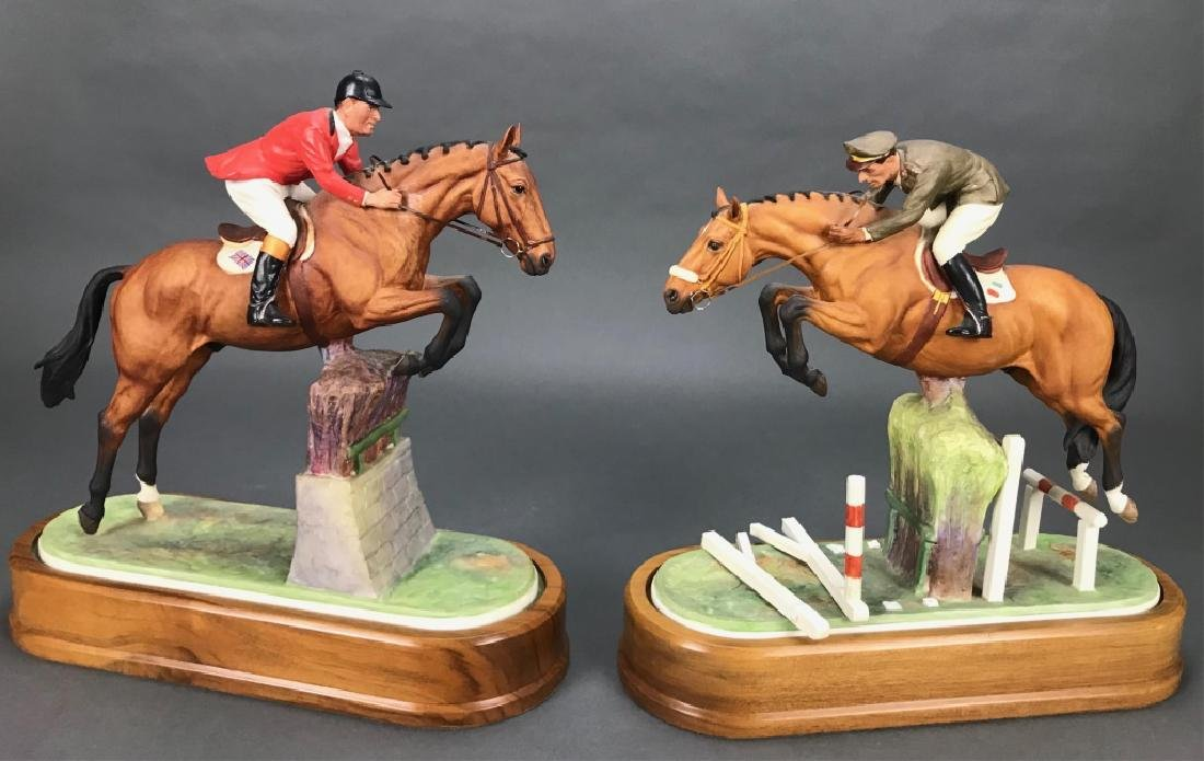 2 Royal Worcester, porcelain, equestrian figures.