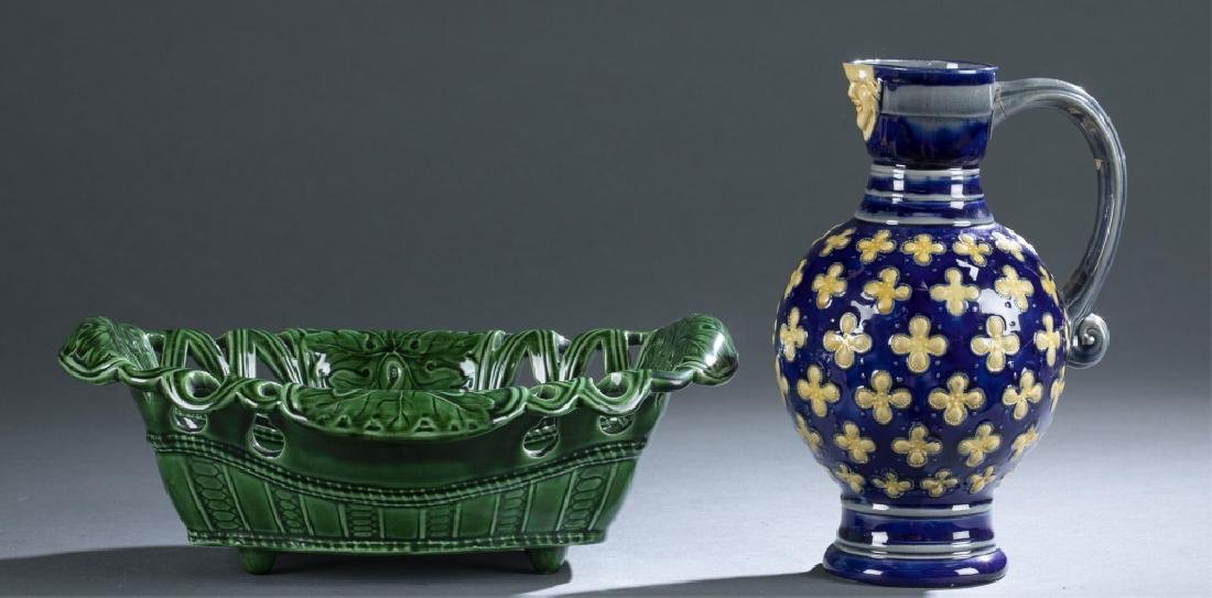 2 Pieces of Majolica Bowl & Pitcher.