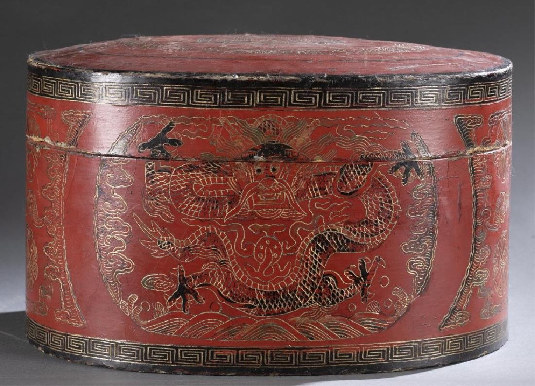 Red Chinese lacquer box