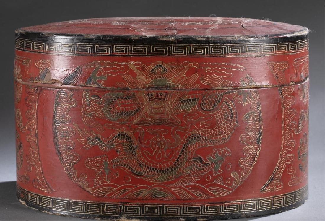 Red Chinese lacquer box - 4