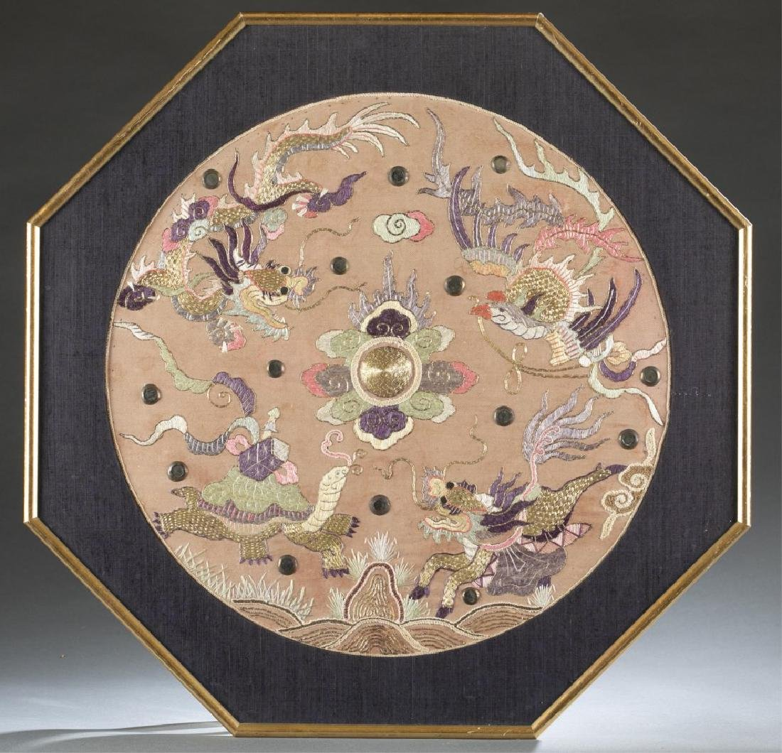 Chinese embroidery textile w/frame.