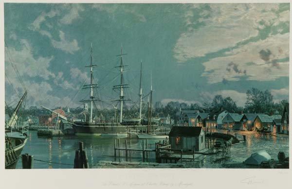9: John Stobart. Mystic Seaport. Lithograph.