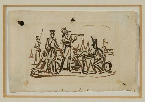 14: Ink drawing attributed to George Cruikshank.