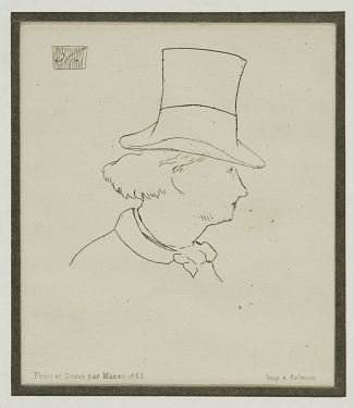 22: Edouard Manet etching: Baudelaire with a Hat, 1869