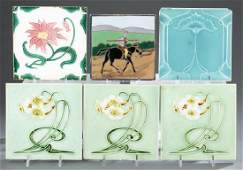 6 Art Nouveau majolica tiles, 20th century.