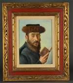 Caspar Mine. Portrait of a Rabbi. O/B. 20th c.