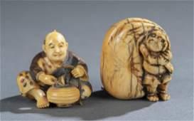 2 Figural Netsuke early 20th c