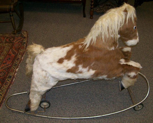 2014: Mohair Rocking Horse/ Pull Toy on metal base