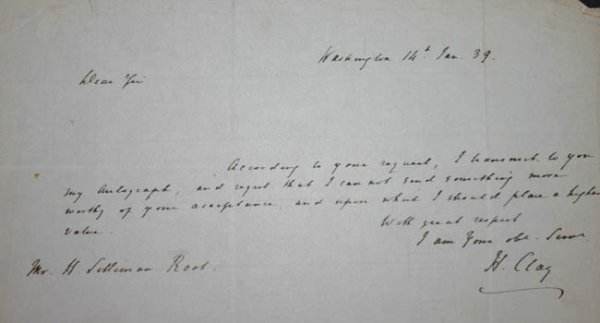 1014: Henry Clay, Autograph Letter Signed, 1839