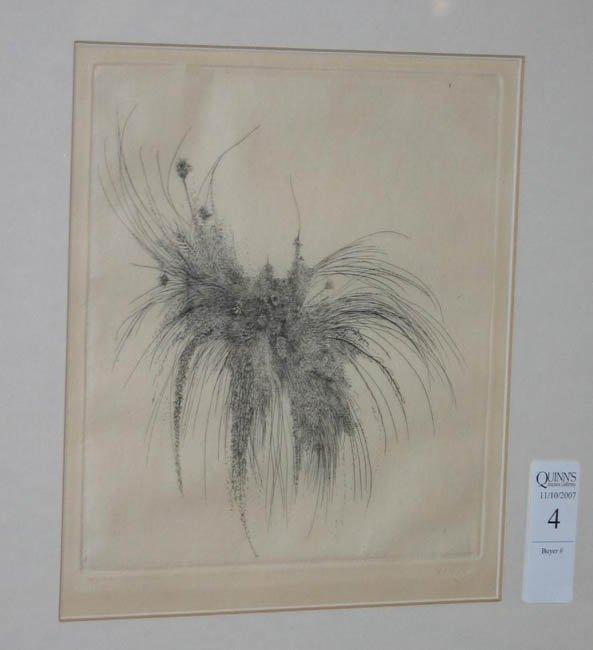 4: Leonard Baskin, Grass, etching signed #13/60.