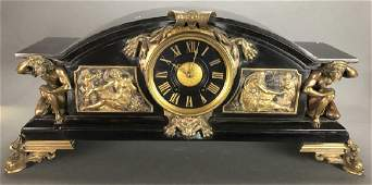 French slate mantel clock, 20th c.