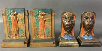 2 pairs of art deco bookends