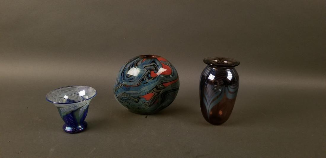 Two R. Eickholt & Lundberg Studios Art Glass Vases