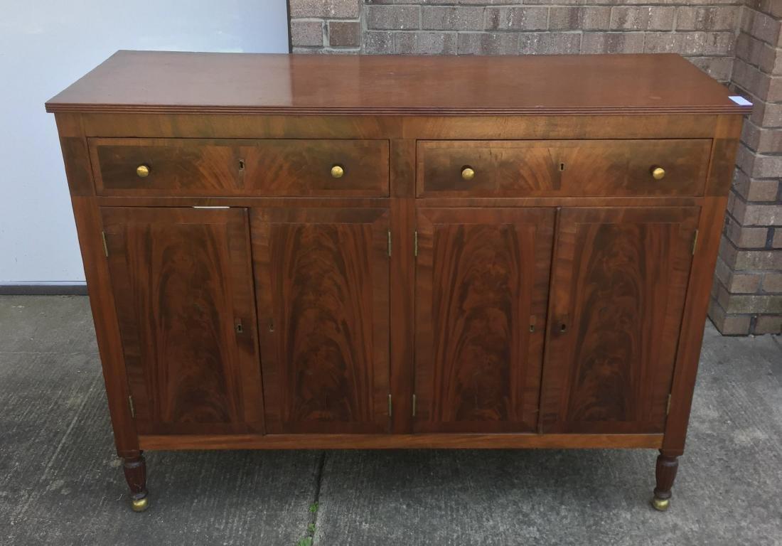Art Deco Mahogany Server w/ Burlwood Front