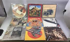 Group Of Rock LP Records With Case