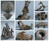 9 West African brass objects. 20th century.