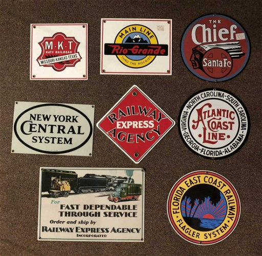 Eight metal reproduction Railway signs