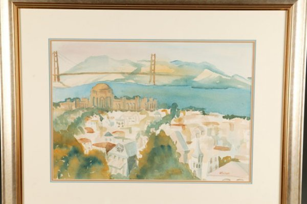 1005: JK Talbot San Francisco area watercolor, 15 x 21.