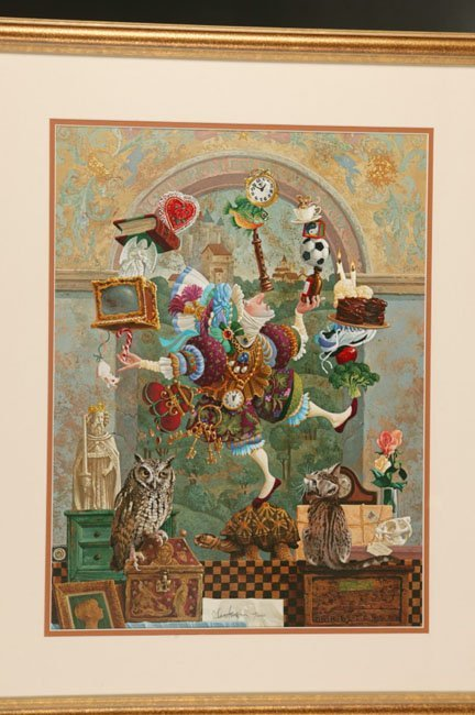 1010: James Christensen, framed print. ''Balancing Act""