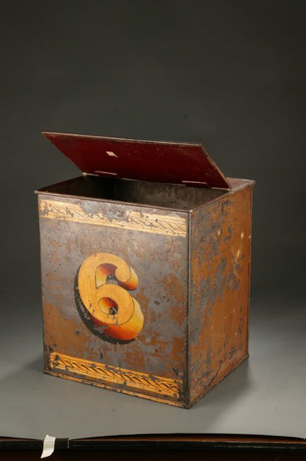 1033: Bartlett and Son painted metal storage bin