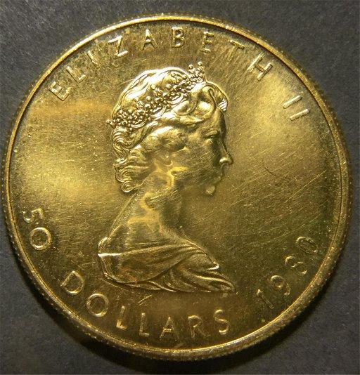 Canadian Elizabeth II 1980 $50 Gold Coin