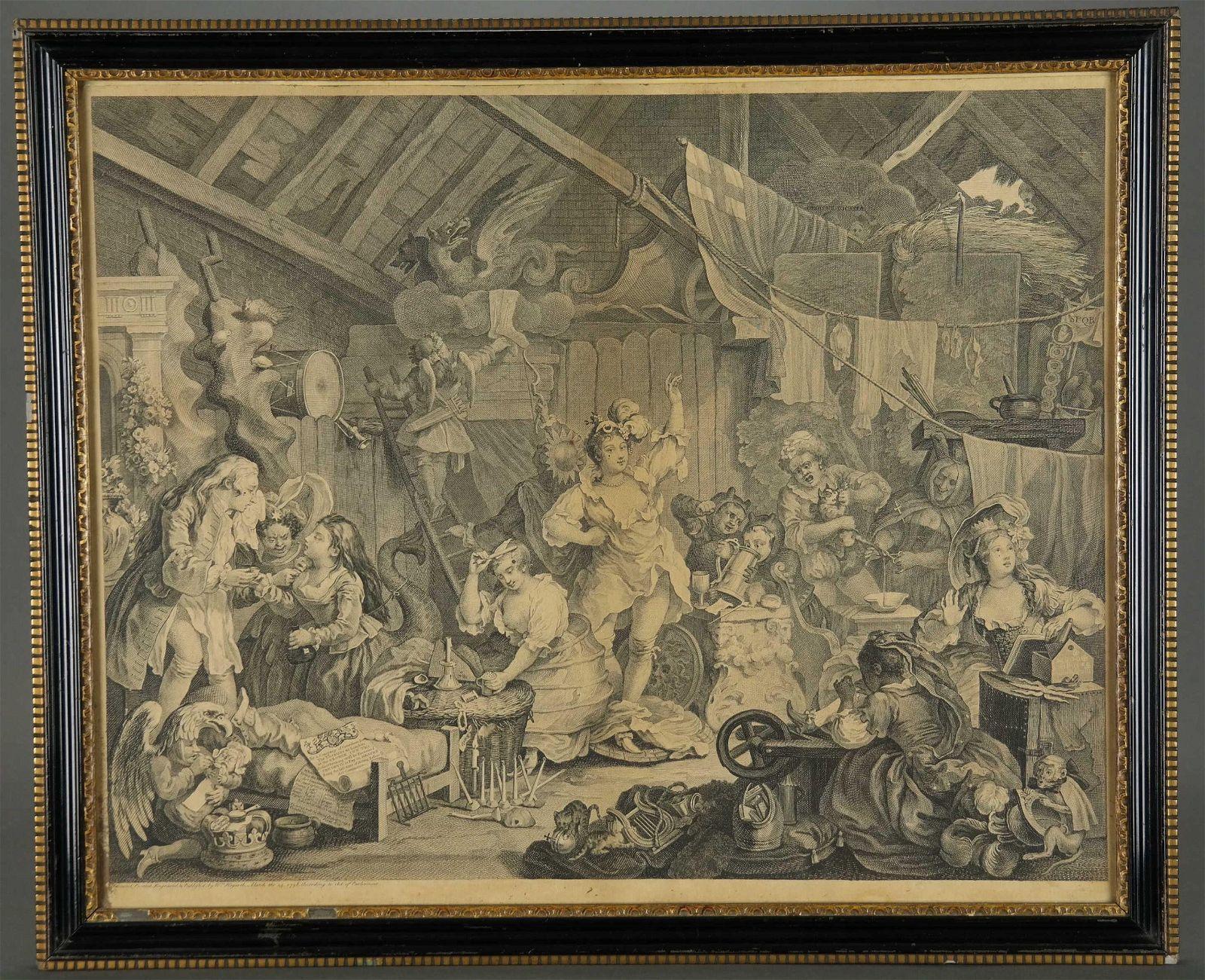 Pair of Hogarth Prints. O Roast Beef, Strolling.