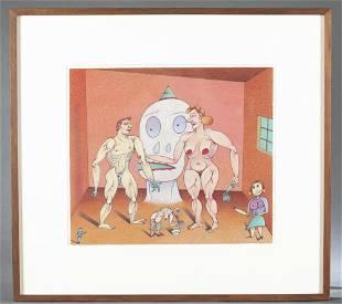 "Jim Nutt, ""Really!?"" (thump thump!), 1986, Drawing"