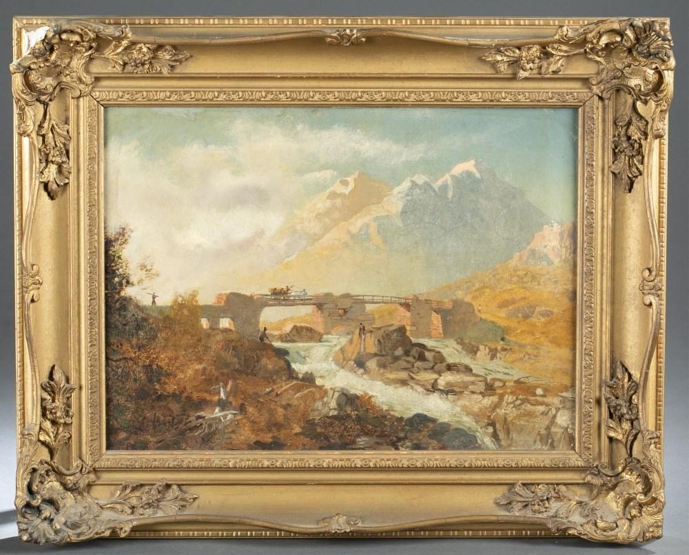 English/American School, Landscape, 19th c., O/C.