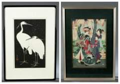 2 Japanese woodblock prints.