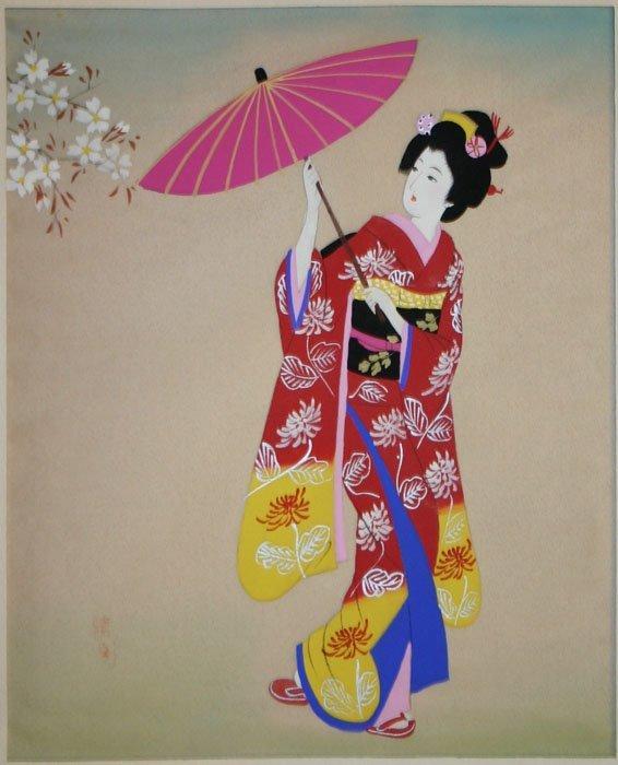 1009: Two Japanese paintings on silk.