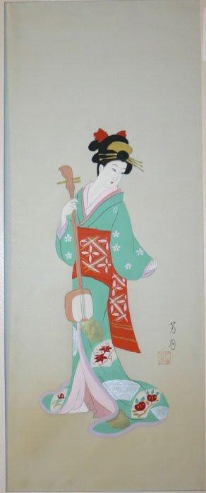 1011: [Japanese Beauties]. 2 paintings on silk of Japan