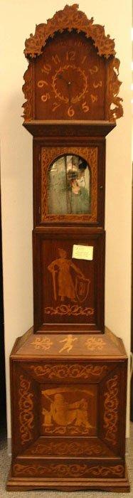 1073: Dutch mahogany & marquetry tall grandfather c