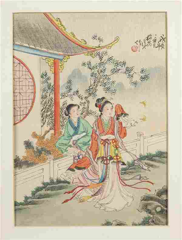 Chinese Watercolor of two women