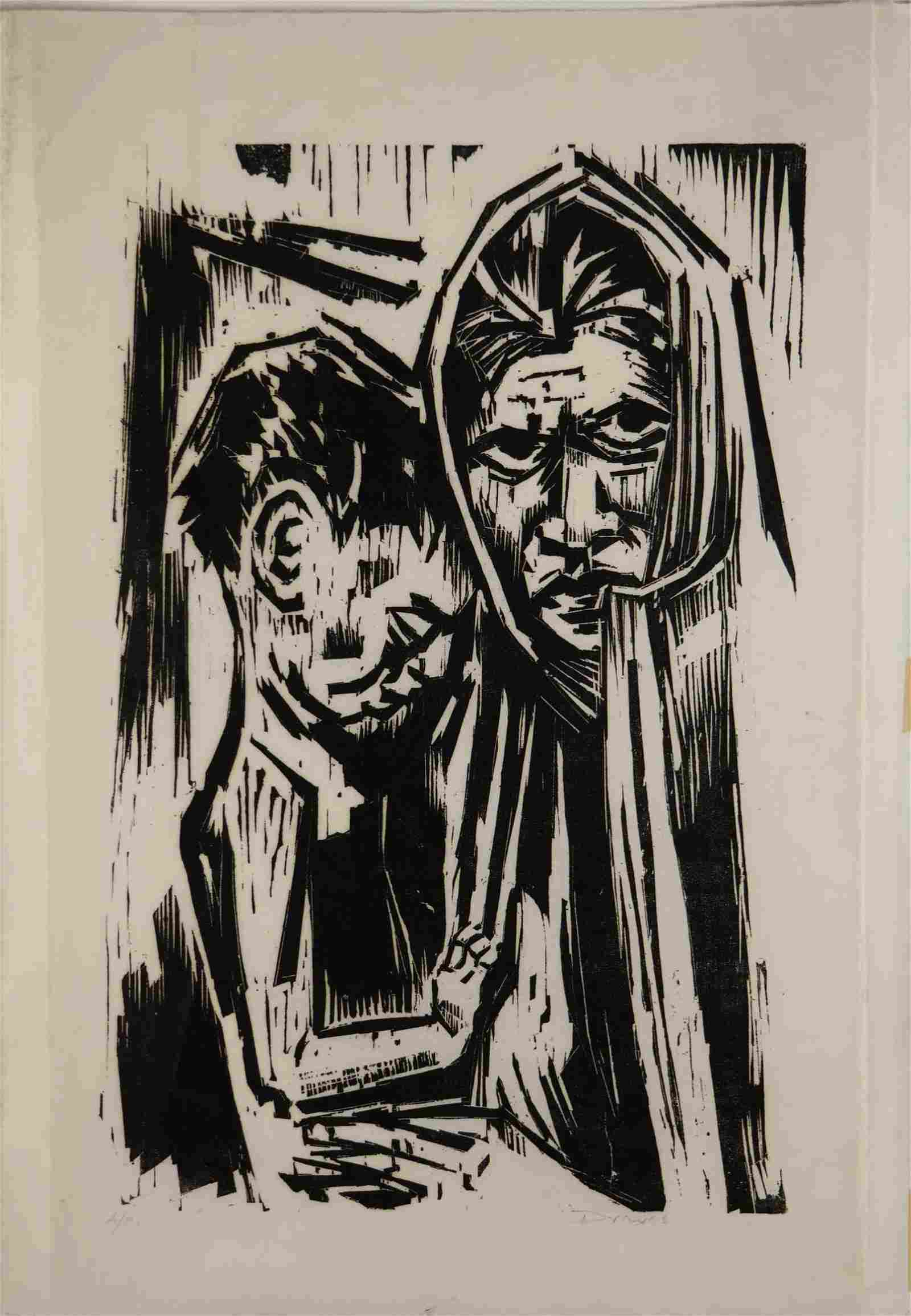 Werner Drewes. Woodcut. Hungry. 1971.