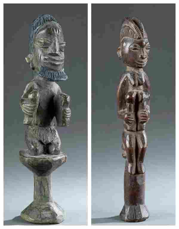 2 Figural Yoruba Staffs. 20th c.