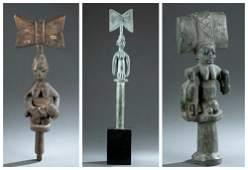 3 Yoruba Shango Staffs. 20th c.
