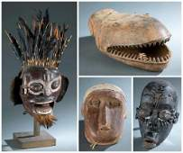 4 African Masks  Objects 20th c
